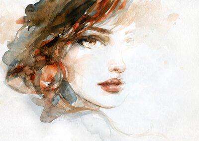 Фотообои beautiful woman. fashion illustration. watercolor painting