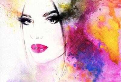 Фотообои Красивая женщина портрет. акварель иллюстрации Абстрактные моды