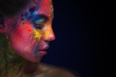 Фотообои Beautiful woman portrait with bright art make-up