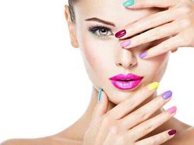 Фотообои beautiful woman  with colored nails