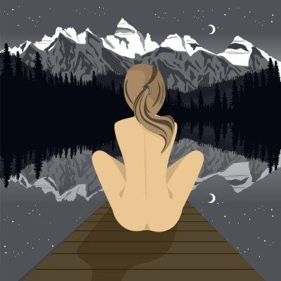 Фотообои Красивая молодая Обнаженная женщина, сидя на пирсе, глядя на горное озеро в ночное время