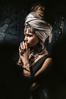 Фотообои beautiful young stylish woman wearing turban outdoors portrait