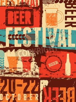 Фотообои Фестиваль пива в винтажном стиле гранж постер. Ретро векторные иллюстрации.