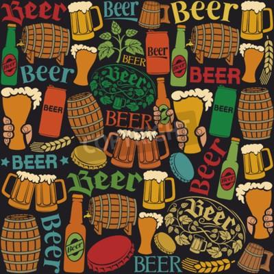 Фотообои иконки пиво бесшовные модели пиво фон, хмель лист, хмель ветвь, деревянная бочка, бокал пива, пиво может, крышка от бутылки, кружка пива, пиво пивные бутылки
