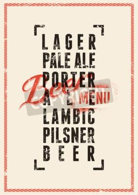 Фотообои дизайн меню пиво. Урожай стиле гранж пиво постер. Векторная иллюстрация.