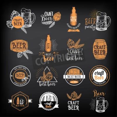 Фотообои Пивной ресторан значки вектор, дизайн меню алкоголь.