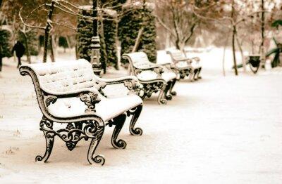 Фотообои Скамейка в заснеженном зимнем парке