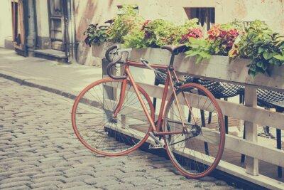 Фотообои Велосипед на Старом стрит. Урожай стилизованные.