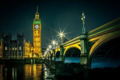 Фотообои Биг Бен и палат парламента в сумерках, Лондон, Великобритания