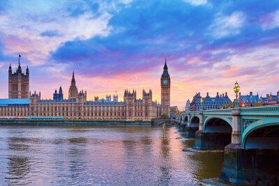 Фотообои Big Ben and Westminster Bridge with river Thames