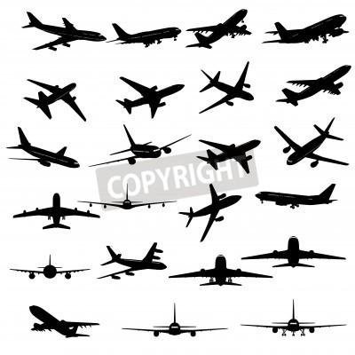 Фотообои Большая коллекция различных силуэтов самолетов.