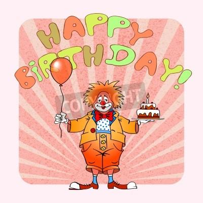 Открытка с днем рождения с клоуном 262