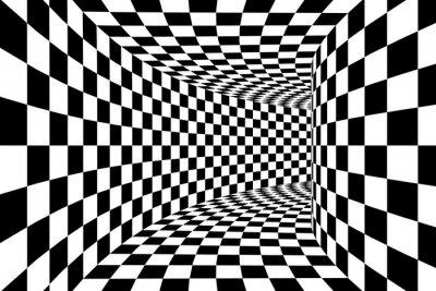 Фотообои Черно-белый клетчатый площади Стеной Туннель абстрактный фон