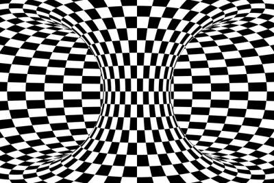 Фотообои Черно-белый клетчатый Торус абстрактный фон