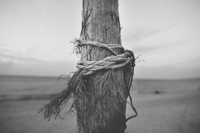 Фотообои Черно-белый закрыть полюса на пляже с веревкой витой