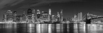 Фотообои Черно-белый Нью-Йорк в ночное время панорамное изображение, США.