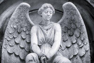 Фотообои черно-белый снимок ангела.
