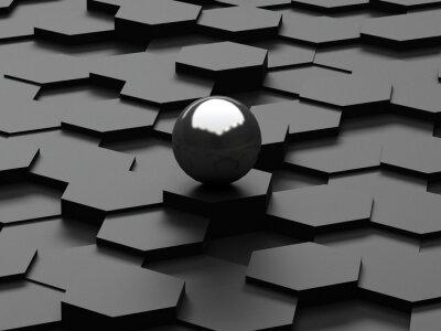Фотообои Черный фон 3d шестиугольники и стальной сферы