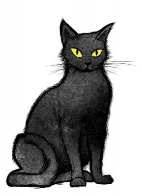 Фотообои сидит Черный кот и смотрит в камеру
