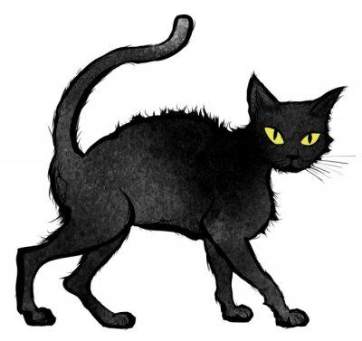 Фотообои ходить Черный кот и смотрит в камеру