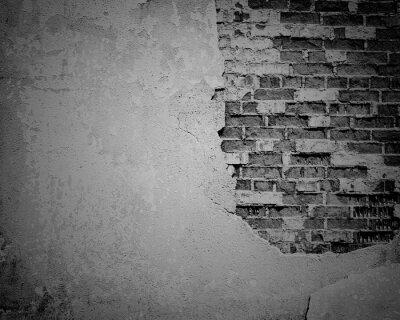 Фотообои Черный гранж выветривания, трещины кирпичной стены текстуры