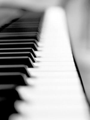 Фотообои Черное пианино крупным планом размытия фона и переднего плана.