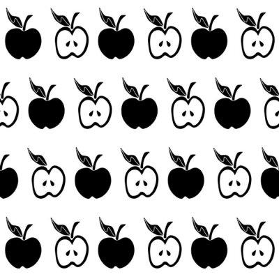 Фотообои Черное белое яблоко бесшовные модели