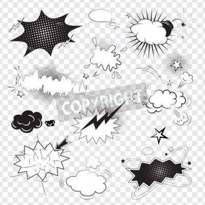 Фотообои Пустой текст комиксов черный речи пузыри в стиле поп-арт