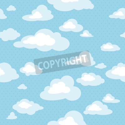 Фотообои Голубое небо с облаками, вектор бесшовные модели