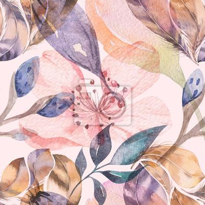 Фотообои Boho бесшовный акварельный узор из перьев и полевых цветов, листьев, ветвей цветов, иллюстраций, любви и перьев, богемного украшения весеннего цветения