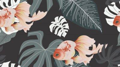 Фотообои Botanical seamless pattern, pink lotus flowers and goldfish on dark grey background, pastel vintage style