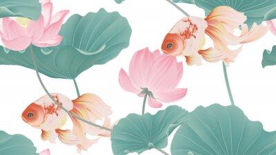 Фотообои Botanical seamless pattern, pink lotus flowers and goldfish on white background, pastel vintage style