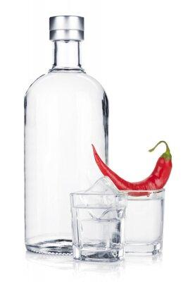 Фотообои Бутылка водки и рюмку со льдом и красным перцем чили