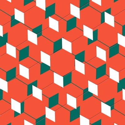 Фотообои Вставка абстрактного искусства кубизма иллюзию в оранжевый и зеленый