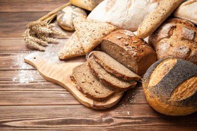 Фотообои Хлеб ассортимент на деревянные поверхности