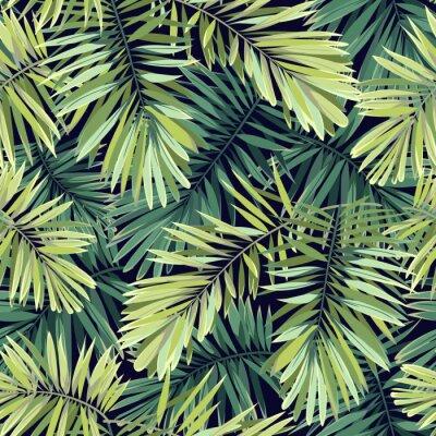 Фотообои Яркий зеленый фон с тропическими растениями. Бесшовные Векторные экзотические картины с пальмовых листьев Феникса.