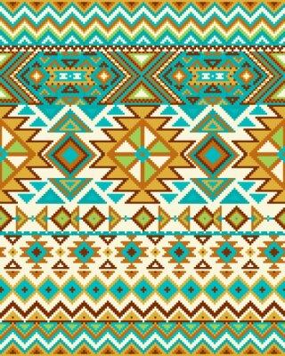Фотообои Яркий бесшовный фон с узором пикселя в ацтекского геометрической племенной стиль. Векторная иллюстрация. Pantone цвета.