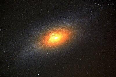 Фотообои Яркая галактика на фоне темного неба со звездами