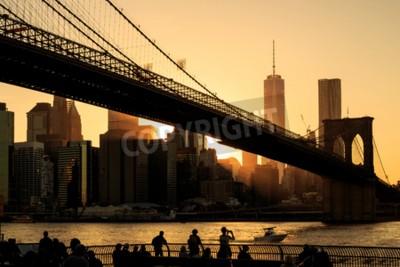 Фотообои Бруклинский мост на закате, Нью-Йорк