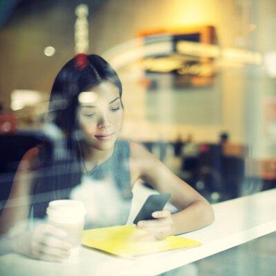 Фотообои Кафе город образ жизни женщина на телефон пить кофе