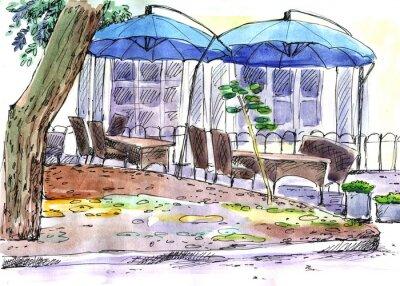 Фотообои Кафе на улице. синие зонтики, акварель