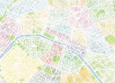 Фотообои Cartina Parigi, disegnata в Мано, pennellate, Штраде е ви, Франчия