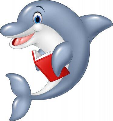 Фотообои Мультфильм дельфин холдинг книги, изолированных на белом фоне