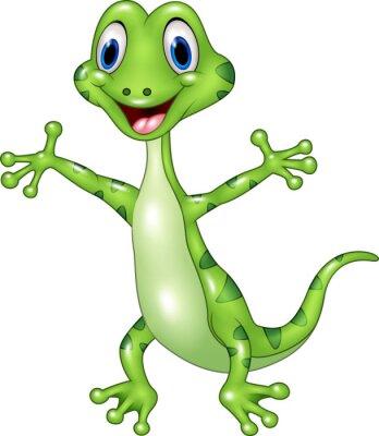 Фотообои Мультфильм смешной зеленая ящерица позирует на белом фоне