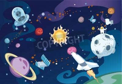 Фотообои Cartoon galaxy scene featuring spaceship, aliens, sun and the solar system, and an astronaut.