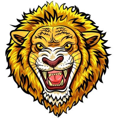 Фотообои Мультфильм головы сердитый лев талисман