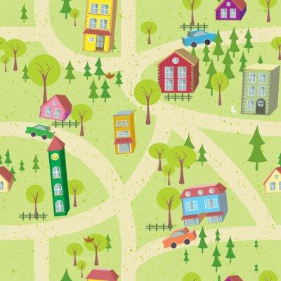 Фотообои Мультфильм карту бесшовные модели с домов и дорог