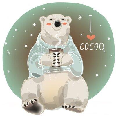 Фотообои Мультфильм белый медведь с чашкой горячего напитка