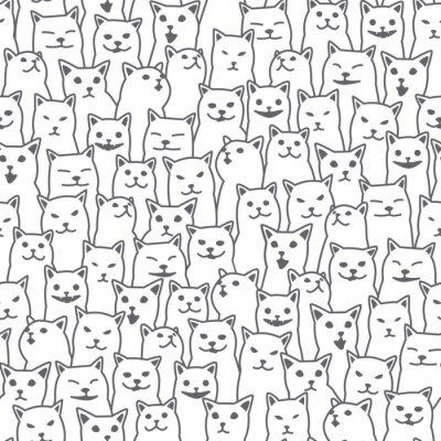 Фотообои Cat котенок породы каракули вектор бесшовные шаблон изолированных обои фон белый