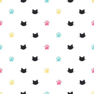 Фотообои кошка лапа трек вектор бесшовный фон
